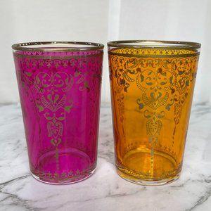 T2 Pink Yellow Gold Moroccan Glass Set Tea Coffee